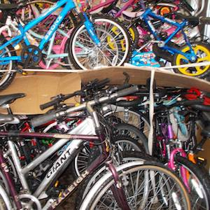donated bicycles on their way to Kenya